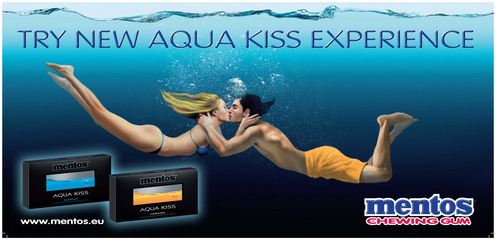Aqua Kiss žvýkačky _ vizuál kampaně